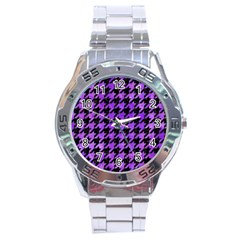 Houndstooth1 Black Marble & Purple Watercolor Stainless Steel Analogue Watch by trendistuff