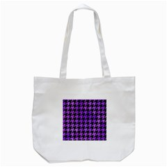 Houndstooth1 Black Marble & Purple Watercolor Tote Bag (white) by trendistuff