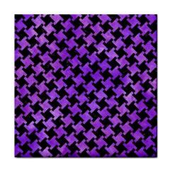Houndstooth2 Black Marble & Purple Watercolor Tile Coasters by trendistuff