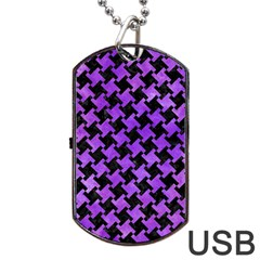 Houndstooth2 Black Marble & Purple Watercolor Dog Tag Usb Flash (two Sides) by trendistuff