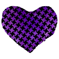 Houndstooth2 Black Marble & Purple Watercolor Large 19  Premium Flano Heart Shape Cushions by trendistuff