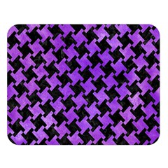 Houndstooth2 Black Marble & Purple Watercolor Double Sided Flano Blanket (large)  by trendistuff