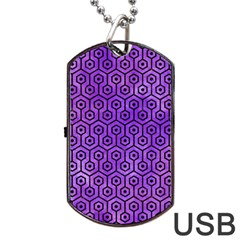Hexagon1 Black Marble & Purple Watercolor Dog Tag Usb Flash (two Sides) by trendistuff