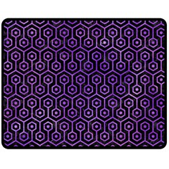 Hexagon1 Black Marble & Purple Watercolor (r) Double Sided Fleece Blanket (medium)  by trendistuff