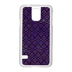 Hexagon1 Black Marble & Purple Watercolor (r) Samsung Galaxy S5 Case (white) by trendistuff