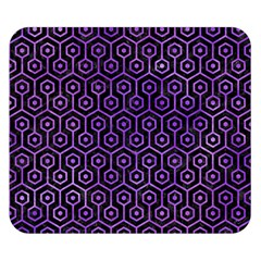 Hexagon1 Black Marble & Purple Watercolor (r) Double Sided Flano Blanket (small)  by trendistuff