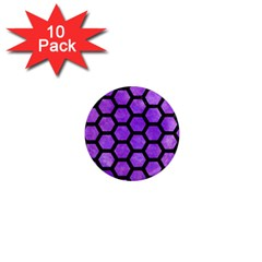 Hexagon2 Black Marble & Purple Watercolor 1  Mini Magnet (10 Pack)  by trendistuff