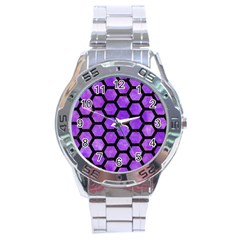 Hexagon2 Black Marble & Purple Watercolor Stainless Steel Analogue Watch by trendistuff