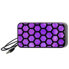 Hexagon2 Black Marble & Purple Watercolor Portable Speaker by trendistuff