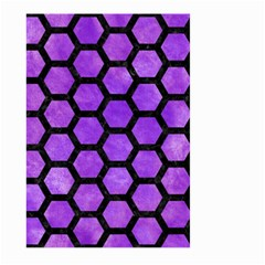 Hexagon2 Black Marble & Purple Watercolor Large Garden Flag (two Sides) by trendistuff