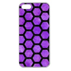 Hexagon2 Black Marble & Purple Watercolor Apple Seamless Iphone 5 Case (clear) by trendistuff