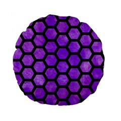 Hexagon2 Black Marble & Purple Watercolor Standard 15  Premium Flano Round Cushions by trendistuff