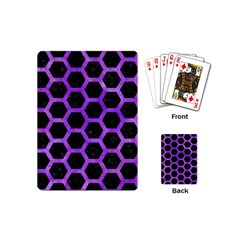 Hexagon2 Black Marble & Purple Watercolor (r) Playing Cards (mini)  by trendistuff