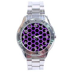Hexagon2 Black Marble & Purple Watercolor (r) Stainless Steel Analogue Watch by trendistuff
