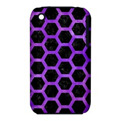 Hexagon2 Black Marble & Purple Watercolor (r) Iphone 3s/3gs by trendistuff