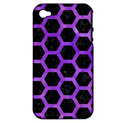Hexagon2 Black Marble & Purple Watercolor (r) Apple Iphone 4/4s Hardshell Case (pc+silicone) by trendistuff