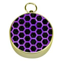 Hexagon2 Black Marble & Purple Watercolor (r) Gold Compasses