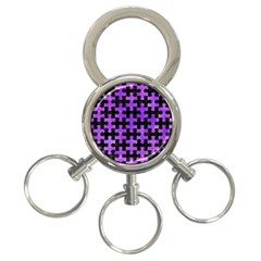 Puzzle1 Black Marble & Purple Watercolor 3 Ring Key Chains by trendistuff