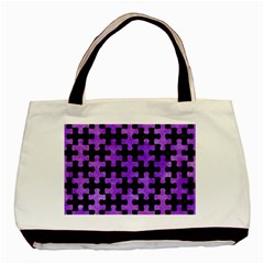 Puzzle1 Black Marble & Purple Watercolor Basic Tote Bag (two Sides) by trendistuff