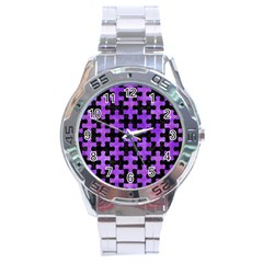 Puzzle1 Black Marble & Purple Watercolor Stainless Steel Analogue Watch by trendistuff