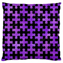 Puzzle1 Black Marble & Purple Watercolor Large Flano Cushion Case (one Side) by trendistuff