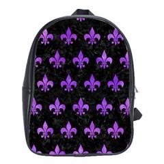 Royal1 Black Marble & Purple Watercolor School Bag (large) by trendistuff