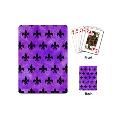 Royal1 Black Marble & Purple Watercolor (r) Playing Cards (mini)  by trendistuff