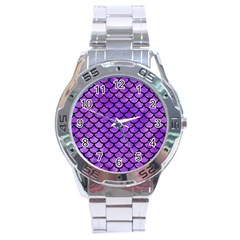 Scales1 Black Marble & Purple Watercolor Stainless Steel Analogue Watch by trendistuff