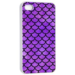 Scales1 Black Marble & Purple Watercolor Apple Iphone 4/4s Seamless Case (white) by trendistuff
