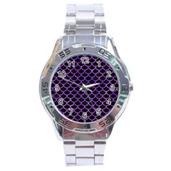 Scales1 Black Marble & Purple Watercolor (r) Stainless Steel Analogue Watch by trendistuff