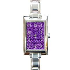 Scales2 Black Marble & Purple Watercolor Rectangle Italian Charm Watch by trendistuff
