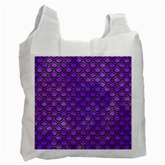 Scales2 Black Marble & Purple Watercolor Recycle Bag (two Side)  by trendistuff
