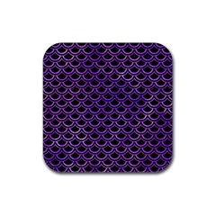 Scales2 Black Marble & Purple Watercolor (r) Rubber Square Coaster (4 Pack)  by trendistuff