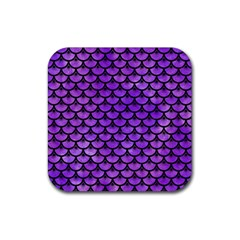 Scales3 Black Marble & Purple Watercolor Rubber Square Coaster (4 Pack)  by trendistuff