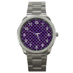 Scales3 Black Marble & Purple Watercolor (r) Sport Metal Watch by trendistuff