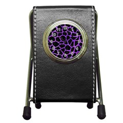 Skin1 Black Marble & Purple Watercolor Pen Holder Desk Clocks by trendistuff