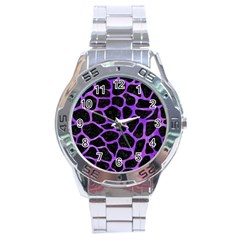 Skin1 Black Marble & Purple Watercolor Stainless Steel Analogue Watch by trendistuff