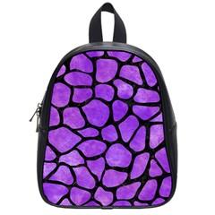 Skin1 Black Marble & Purple Watercolor (r) School Bag (small) by trendistuff