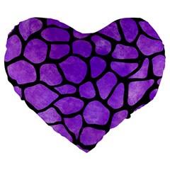 Skin1 Black Marble & Purple Watercolor (r) Large 19  Premium Heart Shape Cushions by trendistuff