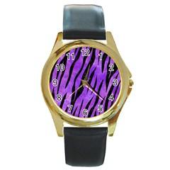 Skin3 Black Marble & Purple Watercolor Round Gold Metal Watch by trendistuff