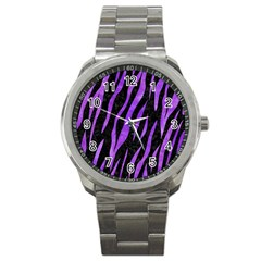 Skin3 Black Marble & Purple Watercolor (r) Sport Metal Watch by trendistuff