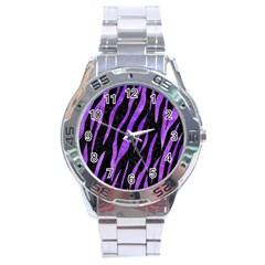 Skin3 Black Marble & Purple Watercolor (r) Stainless Steel Analogue Watch by trendistuff