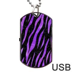 Skin3 Black Marble & Purple Watercolor (r) Dog Tag Usb Flash (two Sides) by trendistuff