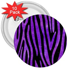 Skin4 Black Marble & Purple Watercolor 3  Buttons (10 Pack)