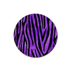 Skin4 Black Marble & Purple Watercolor (r) Rubber Round Coaster (4 Pack)  by trendistuff