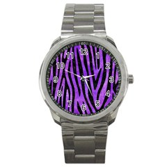Skin4 Black Marble & Purple Watercolor (r) Sport Metal Watch by trendistuff