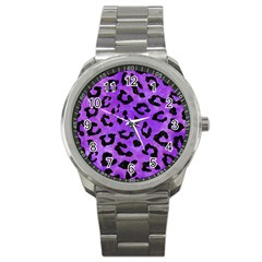 Skin5 Black Marble & Purple Watercolor (r) Sport Metal Watch by trendistuff