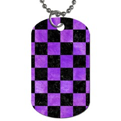 Square1 Black Marble & Purple Watercolor Dog Tag (one Side) by trendistuff