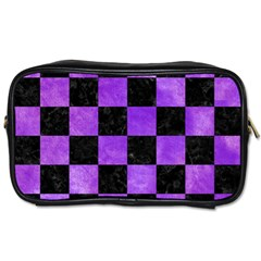 Square1 Black Marble & Purple Watercolor Toiletries Bags 2 Side by trendistuff