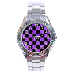 Square1 Black Marble & Purple Watercolor Stainless Steel Analogue Watch by trendistuff